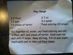 Homemade Playdoh recipe