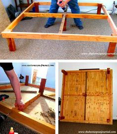 DIY king size bed frame, perhaps a little taller for some storage