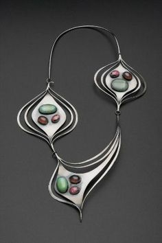 Art Smith, Necklace, ca. 1958. Silver, turquoise, rhodochrosite, chrysoprase, and amethyst. Courtesy Museum of Fine Arts, Boston