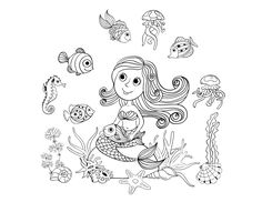Free coloring page coloring-adult-mermaid-and-fishes-by-amalga. Cute draw of a mermaid and her fishes friends, by Amalga