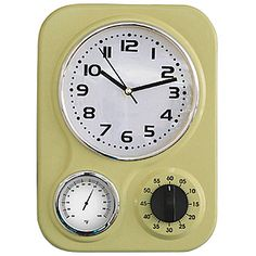 New Vintage Lemon Lime Metal Retro Kitchen Clock With Thermometer And Timer  | EBay