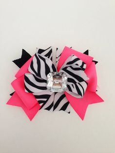 Bright Hot Pink Zebra Hair Bow