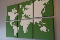 world map on canvases