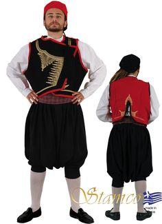 Man from Cyclades on embroidered vest - 642135 Mykonos, Santorini, Island Man, Island Girl, Folk Costume, Costume Design, Islands, Greek Costumes, Menswear