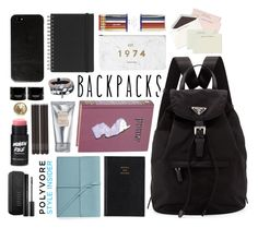 """Backpack #2"" by patricia-pfa ❤ liked on Polyvore featuring Prada, Second Nature By Hand, Bynd Artisan, Laura Mercier, Muji, i am a, Focused Space, Nudestix, Chanel and backpacks"