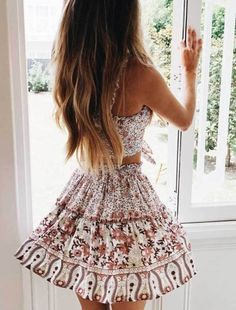 Pink Floral Crop Top and Skirt Matching Sets, Summer Outfits, Pink Floral Crop Top and Skirt Matching Sets – Gabi Swimwear. Boho Mini Dress, Mini Shirt Dress, Casual Skirt Outfits, Cute Outfits, Dressy Dresses, Sexy Dresses, Dress Outfits, Night Out Outfit, Floral Crop Tops
