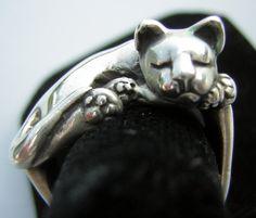 James Yesberger Sleeping Cat Kitten Ring Vintage by DecadencePast