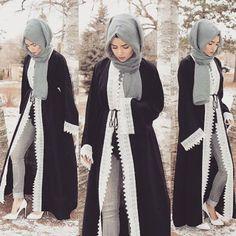 abaya fashion Kaftan Islamic Abaya Muslim Long Sleeve Dress Lace Crochet Hollow-out Front Open Abaya Kimono Robe,Free Size,Black Islamic Fashion, Muslim Fashion, Modest Fashion, Abaya Designs, Modest Wear, Modest Dresses, Hijab Outfit, Style Outfits, Fashion Outfits