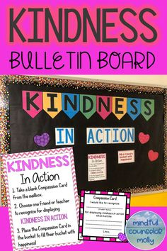 Kindness In Action Bulletin Board Kindness Activities, Counseling Activities, Group Counseling, School Counseling Office, School Counselor, Kindness Bulletin Board, Bulletin Boards, Character Education, Teacher Blogs