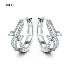 581f39934 HUCHE 2017 Luxury Copper Hoop Earings for Women Round Flower Silver/Gold  Color Fashion Jewelry Earrings Zircon Wholesale E240-in Hoop Earrings from  Jewelry ...