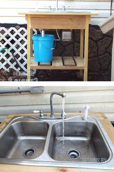See how she made this outdoor sink on a budget with cheap home depot lumbar, an old sink, old faucet and plumbing parts from the hardware store. Greenhouse Shed, Old Sink, Outdoor Sinks, Lounge Party, Diy Outdoor Furniture, Hotel Decor, Diy Patio, Outdoor Projects, Porch Decorating