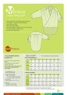 Waffle Patterns Sewing pattern Drape wrap shirt monaca