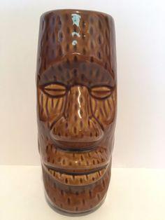 Brown Tiki Mug. Hawaii, cup, Easter Island