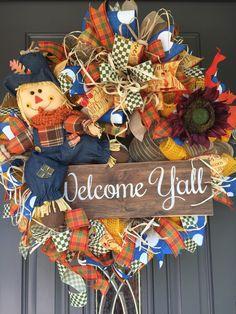 Fall Wreath, Scarecrow Wreath, Fall Scarecrow Wreath, Fall Welcome Wreath, Fall Scarecrow Wreath, Fall front door wreath, Welcome Y'all Wrea by Littlebirdswreaths on Etsy https://www.etsy.com/listing/624743831/fall-wreath-scarecrow-wreath-fall