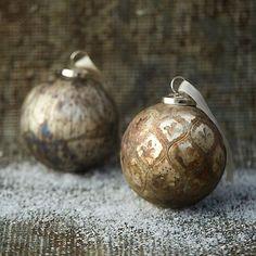 Aged Metallic Globe Ornament