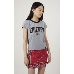Illustrated People Chicken Ailsa Tee ($38) ❤ liked on Polyvore featuring tops, t-shirts, grey, grey t shirt, cotton t shirt, illustrated people, grey tee and gray t shirt