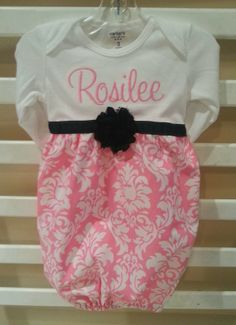 Baby layette gown, diva sack, coming home outfit, chiffon rose, pink candy dandy damask, black shabby chiffon rose