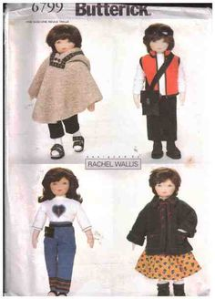 """Butterick Sewing Pattern 6799  Doll Clothes Size: 23""""  Uncut"""