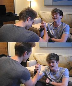 James McVey and Connor Ball of The Vamps arm wrestle - The Vamps images - sugarscape.com