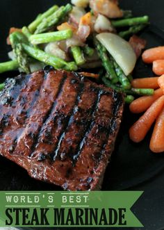 World's BEST Steak Marinade EVER Recipe ~ Says: it truly is the best and requires only 4 ingredients. Every time we use this Steak Marinade, everyone asks for the recipe because it just THAT GOOD!!