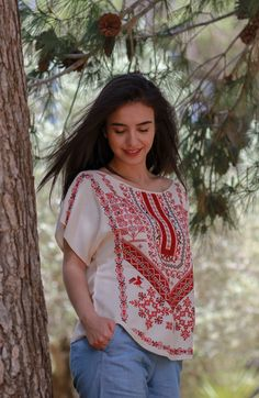 Summer white bateau cut top, modern Palestinian embroidery, ethical fashion