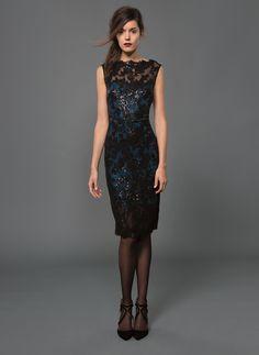 Paillette Embroidered Lace Boatneck Dress in Black/Prussian Blue   Tadashi Shoji