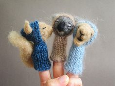 FINGER PUPPET MOBILE / Wall Hanging Felted Wool by LazyAnimals, $135.00