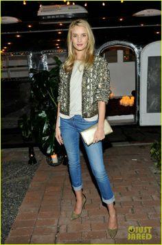 Rosie Huntington-Whiteley wearing Etoile Isabel Marant Adam jeans in Sky, Isabel Marant Paige Pumps, ISABEL MARANT Ecru Glowy Jacket, Saint ...
