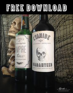 Free Printable bottle labels for Halloween by @Giselle Pantazis Printables
