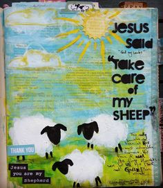 I watched the Illustrated Faith YouTube video by @natalieelphinstone this week and was so inspired I had to emulate it.  Also being that my last name is Shepherd (albeit by marriage ;) I find myself being drawn to anything vaguely sheepy.  I've alo decided to try and include a comprehensive supplies list with each post in case anyone is interested.  I don't have any of the Bella Bvd alphas etc but I DO have a giant stash of scrapbooking and art journaling supplies ;)  Supplies used: acrylic…