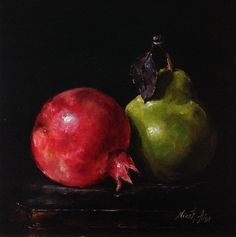 Pomegranate and Pear Still Life Original Oil Painting by Nina R.Aide Fruit Kitchen Art canvas 8x8 inches