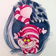 """Little Watercolor Cheshire Cat. 3x4"". It's going in one if my favorite mini frames :)"" megancarrigan_fineart"