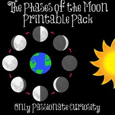 Only Passionate Curiosity has a FREE Moon Phases Pack. She provides activities, printables, and links to videos to complete this moon lesson.     N