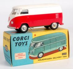 Lot 1727 - Corgi Toys, 433 Volkswagen delivery van, red and white body with yellow interior, spun hubs with Vw Bus, Volkswagen, 70s Toys, Retro Toys, Vw Vintage, Vintage Toys, Van People, Old School Toys, Corgi Toys
