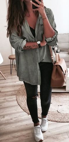 #fall #outfits Army Shirt + Black Ripped Skinny Jeans + White Sneakers