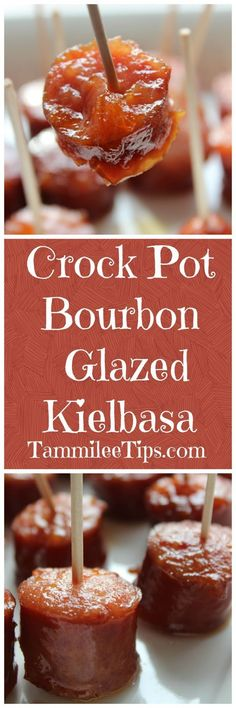 Crock Pot Bourbon Glazed Kielbasa Recipe is so easy! Great appetizers recipes for your football party dinner for a crowd baby shower birthday friends or families dinners. So simple and easy to make! No Cook Appetizers, Appetizer Dishes, Appetizers For Party, Food Dishes, Appetizer Recipes, Delicious Appetizers, Dishes Recipes, Party Snacks, Appetizer Ideas