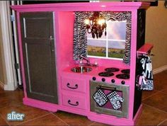 I don't know where I would put it, but I could make this out of our old entertainment center.  Maybe just sell it?