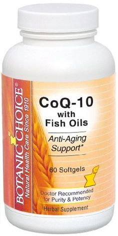 Botanic Choice CoQ-10 with Fish Oils, Softgels, 60-Count Bottle by Botanic Choice. Save 50 Off!. $14.99. If you're looking for heart support with the added health boost of essential fatty acids, this blend is a must! You get 60 mg. of CoEnzyme Q-10 fortified with 2000 mg. of EPA and DHA fish oil including 300 mg. of Omega-3 fatty acids. As you may know, CoQ-10 is a vital nutrient as you grow older, essential to the functioning of every cell in your body, especially for the high-energy ...