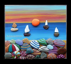 813 images about Kreativ - Rock / Stone / Pebble Art on We Heart It Seashell Crafts, Beach Crafts, Summer Crafts, Pebble Painting, Pebble Art, Stone Painting, Rock Painting, Sea Art, Sea Glass Art