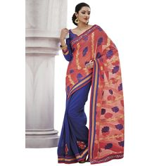 Buy Indian Women Pink And Blue Jacquard Saree With Blouse by undefined, on Paytm, Price: Rs.1499?utm_medium=pintrest