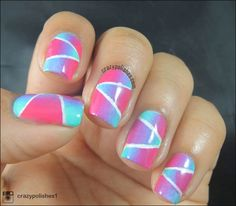 Geometric Gradient   by crazypolishes.com Geometric Gradient http://www.crazypolishes.com/2014/10/geometric-gradient.html #nailart #notd #52WPNMC #geometric #stripingtape #nails #freehand #gradient #picturepolish #sponging