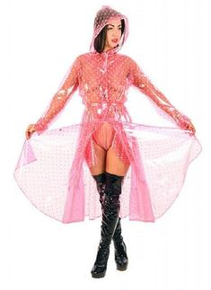 Fetish store selling PVC and Latex. Pink Raincoat, Raincoat Jacket, Plastic Raincoat, Bo Peep Dress, Pvc U Like, Imper Pvc, Transparent Raincoat, Pvc Apron, Hooded Cloak