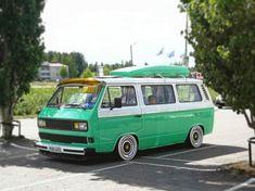 Dropped Two-tone Greenie Vw T3 Camper, Vw Bus T3, Transporter T3, Volkswagen Transporter, Custom Vw Bug, Vw Lt, Vw Vanagon, Unique Cars, Car Wheels