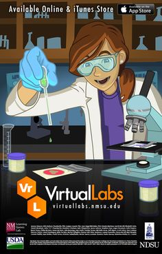 These virtual labs train high school and college students in basic laboratory techniques. Using specific scientific lab processes already used in food science, students practice the methods used by lab technicians and researchers in a variety of careers.