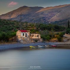 Old house in Halikia Bata beach, Mani peninsula, Lakonia region Peloponnese, Greece Greek Isles, Take My Breath, Memories, River, Mansions, House Styles, Colors, Places, Outdoor