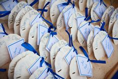 escort cards...sand dollars (stuck in the sand!)