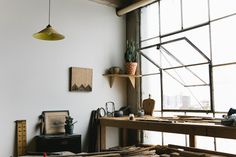 Industrial style studio windows