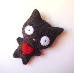 Black Cat Felt Brooch Felt Pin Cute Black Kitty with Red Heart Love Ugly Cute Goth Handmade Stuffed Animal Jewelry Fashion Accessory MiKa