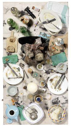 Daniel Spoerri Phallen-Fallenbild, 1989 Assemblaggio su tavola, cm. 150x79 Lotto 433