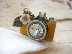 Tan Leather Camera Necklace by iceblues on Etsy, $24.00